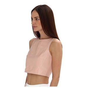 Tibi Pink Leather Crop Top 4